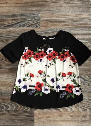 Черная шифоновая блузка блуза с коротким рукавом с цветами, цветочками от soon