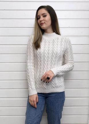 Молочный свитер с горлом marks&spencer