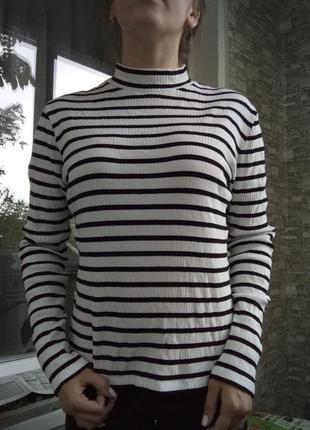 Кофта свитер гольф в полоску рубчк