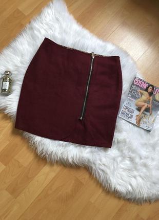 Модная бордовая тёплая шерстяная юбка на замке