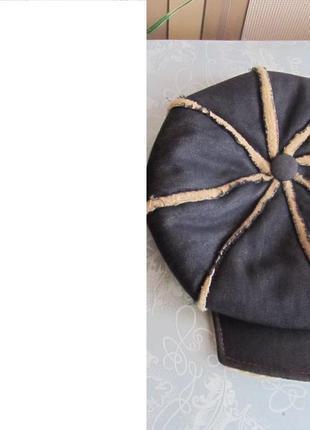 Зимняя джинсовая кепка-восьмиклинка унисекс