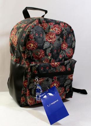 Рюкзак, ранец, городской рюкзак, спортивный рюкзак, цветы, череп