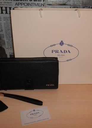 Мужской кошелек клатч барсетка в стиле prada , кожа, италия 2277