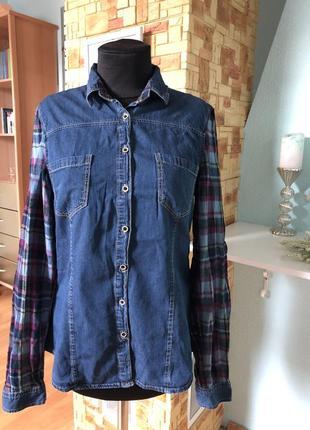 Модная рубашка джинсовая стильная джинс и клетка