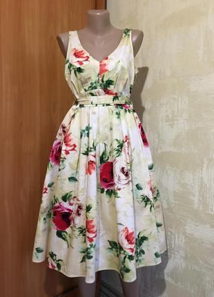 Изумительное пышное платье в принт,100%хлопок.