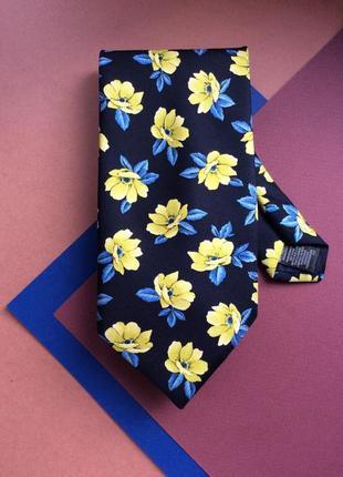 Мужской галстук синий в жёлтые цветы шёлк 100%