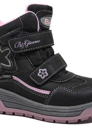 Термоботинки b&g-termo арт.r191-1208, черный-розовый