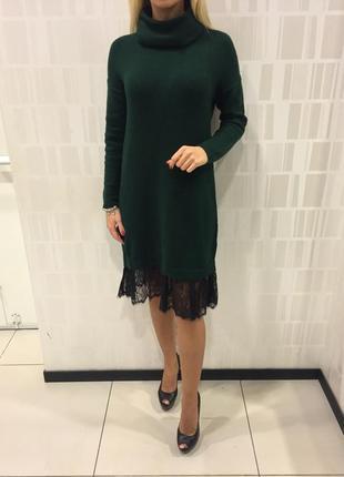 Тёплое вязаное платье с кружевом зелёное платье с горлом. mohito. размеры разные.
