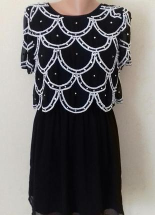 Новое шикарное нарядное вышитое бисером платье river island