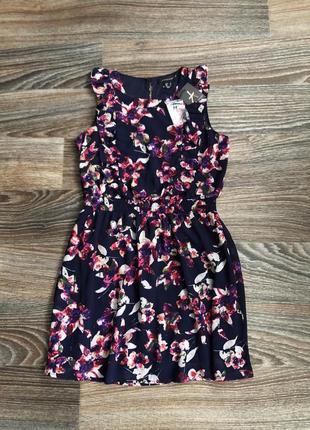Новое синее мини короткое платье без рукавов в цветы цветочки с рюшами по лифу atmopshere