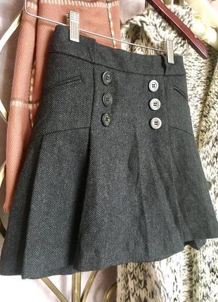 Шерстяная твидовая юбка с пуговицами