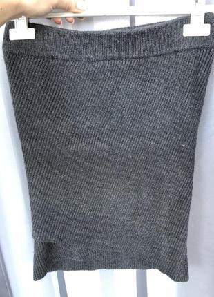 Теплая вязаная трикотажная юбка zara