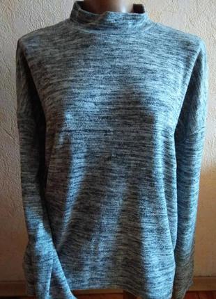 Базовый серый свитер, джемпер гольф оверсайз