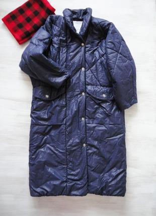 Куртка одеяло luhta, цвет ночного неба индиго, оверсайз, макси длина