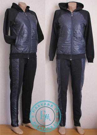 Тёплый костюм на флисе темно-синий размер - s