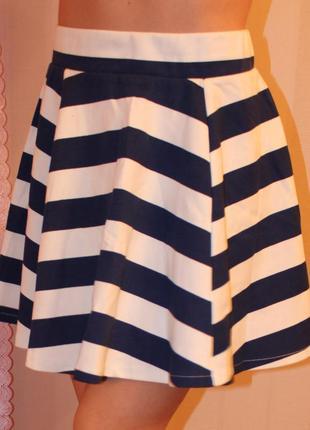 Короткая юбка-солнце в морском стиле, клеш
