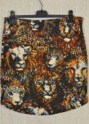 Милая трендовая юбочка осень тигриный принт,от h&m