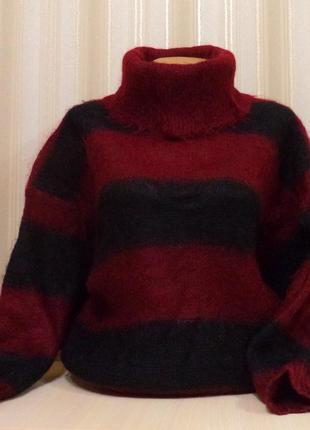 Шерстяной мохеровый вязанный  свитер в полоску  цвет марсала-бордо\черный.