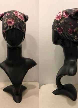 Шапка в цветах mohito вязаная шапка цветочный принт