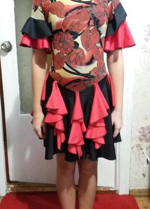 Бейсик платье трико для бальных спортивных танцев