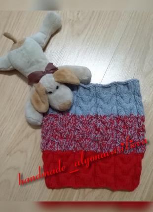 Актуальный бесшовный шарф-снуд в один оборот с градиентом1