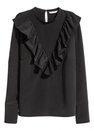 Блузка блуза с воланами до длинного рукава атласная черная