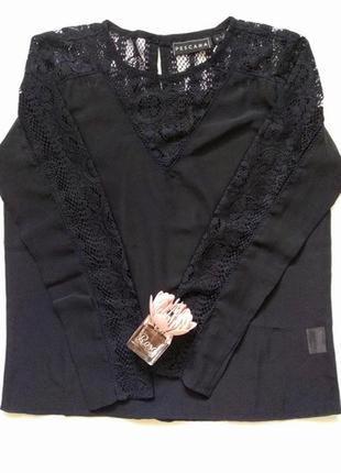 Нарядная шифоновая блузка блуза с длинным рукавом кружевными вставками от pescara s-m