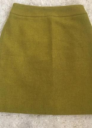 Шикарная теплая шерстяная юбка карандаш высокая посадка от boden горчичная оливковая