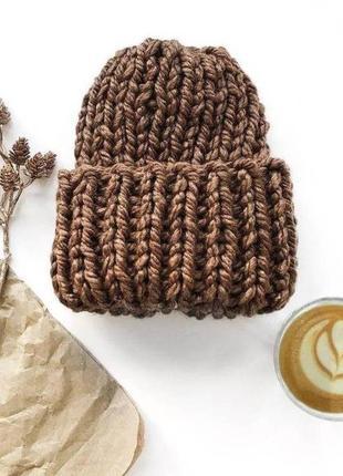 Зимняя вязаная шапка кофе с молоком коричневая женская