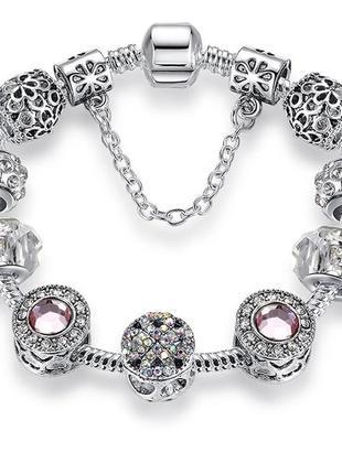 Браслет со съёмными шармами под серебро камни сваровски блестящий новый