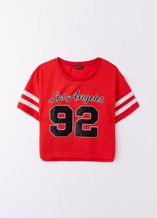 Новая с биркой футболка топ оверсайз oversize с цифрами сеточка красная terranova