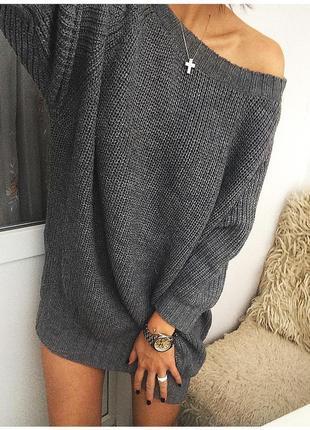 Женское вязаное платье объёмное свободное оверсайз крупная ручная вязка2 фото