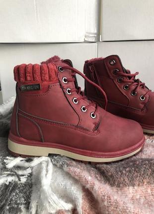 Ботинки с мехом цвет марсала, зима