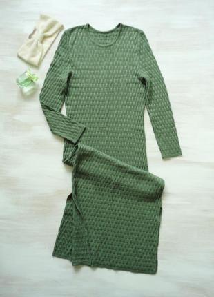 Платье макси длинное, вязаное, разрезы по бокам, 30% шерсть, хаки оливковое