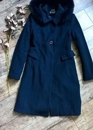 Зимнее кашемировое пальто от elvi (харьков)/утепленное с капюшоном -48