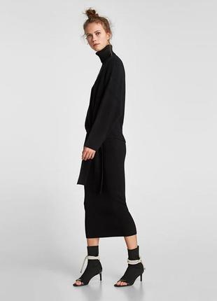 Черная теплая юбка-миди  zara
