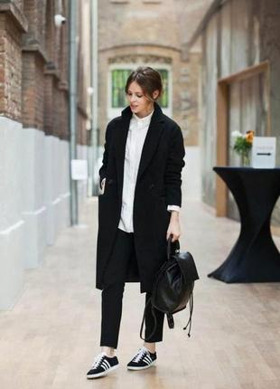 Классическое черное шерстяное пальто/прямое/от farhi-s-m-ка