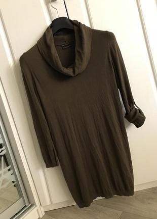 Туника мини-платье, ворот-хомут, шёлк-хлопок-кашемир, цвет молочный шоколад