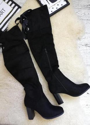 Новые стильные ботфорды на среднем каблуке размеры 37,38,39,40,41