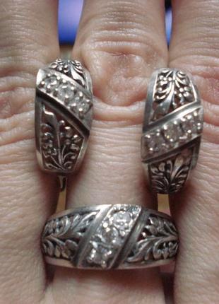 Шикарный серебряный набор, кольцо и серьги , серебро 925 проба. кольцо р.19, 5