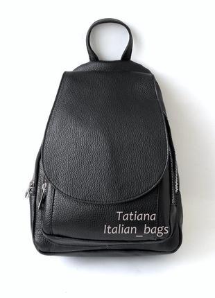 Новинка. кожаный рюкзак модной формы, черный. италия