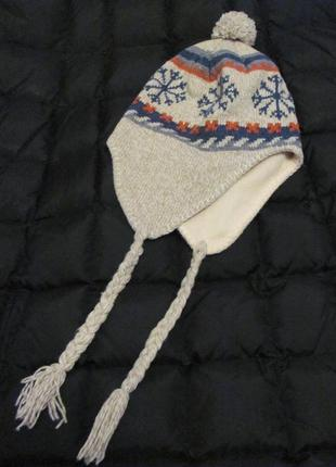 Зимняя шапочка на флисе, шестяная, лыжная