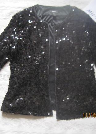 Фирменный пиджак- кардиган полностю в пайетках без пуговиц для новогодней вечеринки