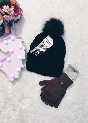 Шикарный новый комплект черная вязаная шапка+перчатки хаки