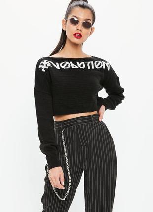 Тепленький укороченный свитер с надписью missguided