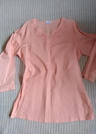 Стильная льняная туника/платье/рубашка в этно стиле