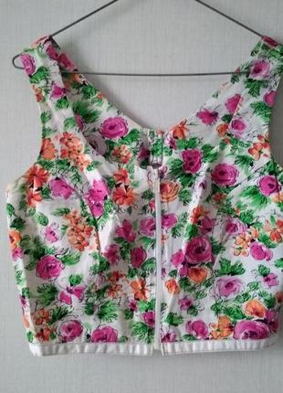 Костюм топ и юбка в цветочный узор
