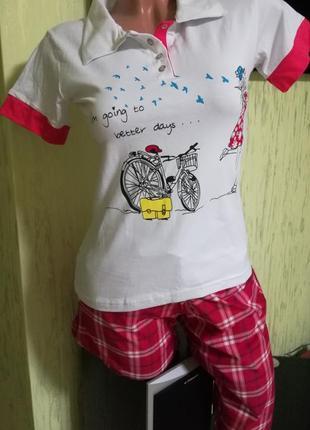 Отличная пижама, футболка+бриджи
