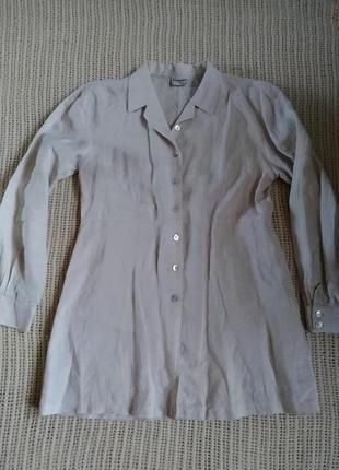 Стильная льняная рубашка/платье/туника