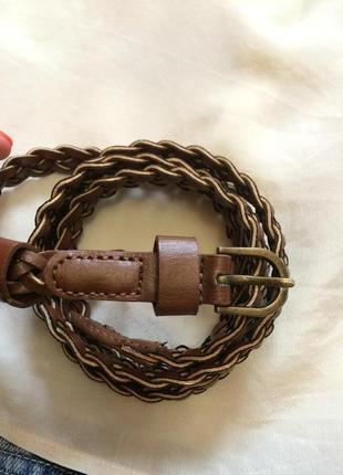 Фирменный плетеный ремень accessorize,тонкий ремешок,пояс,поясок+подарок